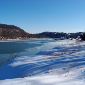winter scene of mon river by rices landing  dallas slagle