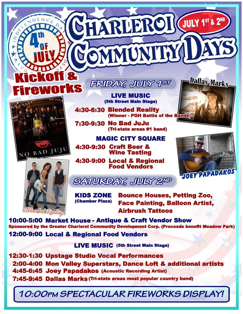 CHARLEROI COMMUNITY DAYS flier UPDATE 6-1-16