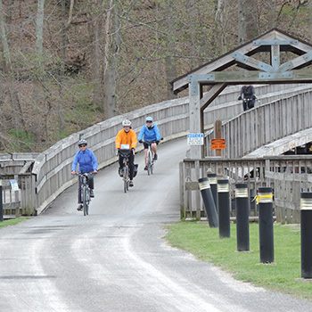 Bikers on Cheat Lake Trail