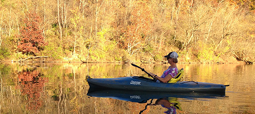 Women in a kayak during the fall