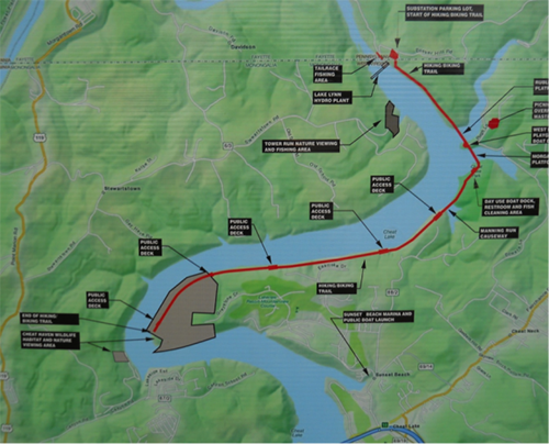 Cheat Lake Trail Map